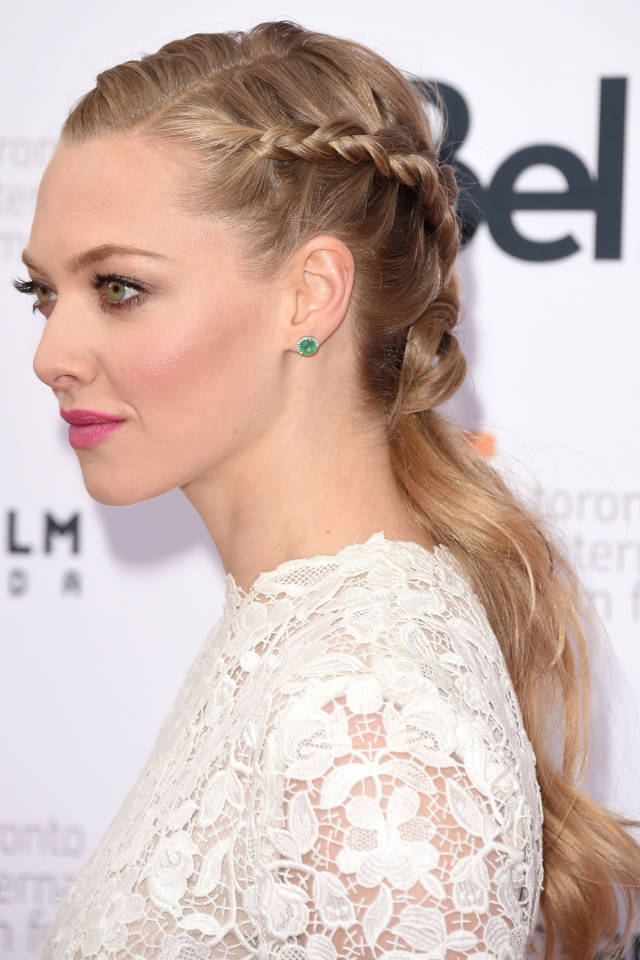 Amanda Seyfried wearing French braids Knotted together at the neck with the remaining hair gathered in a low ponytail